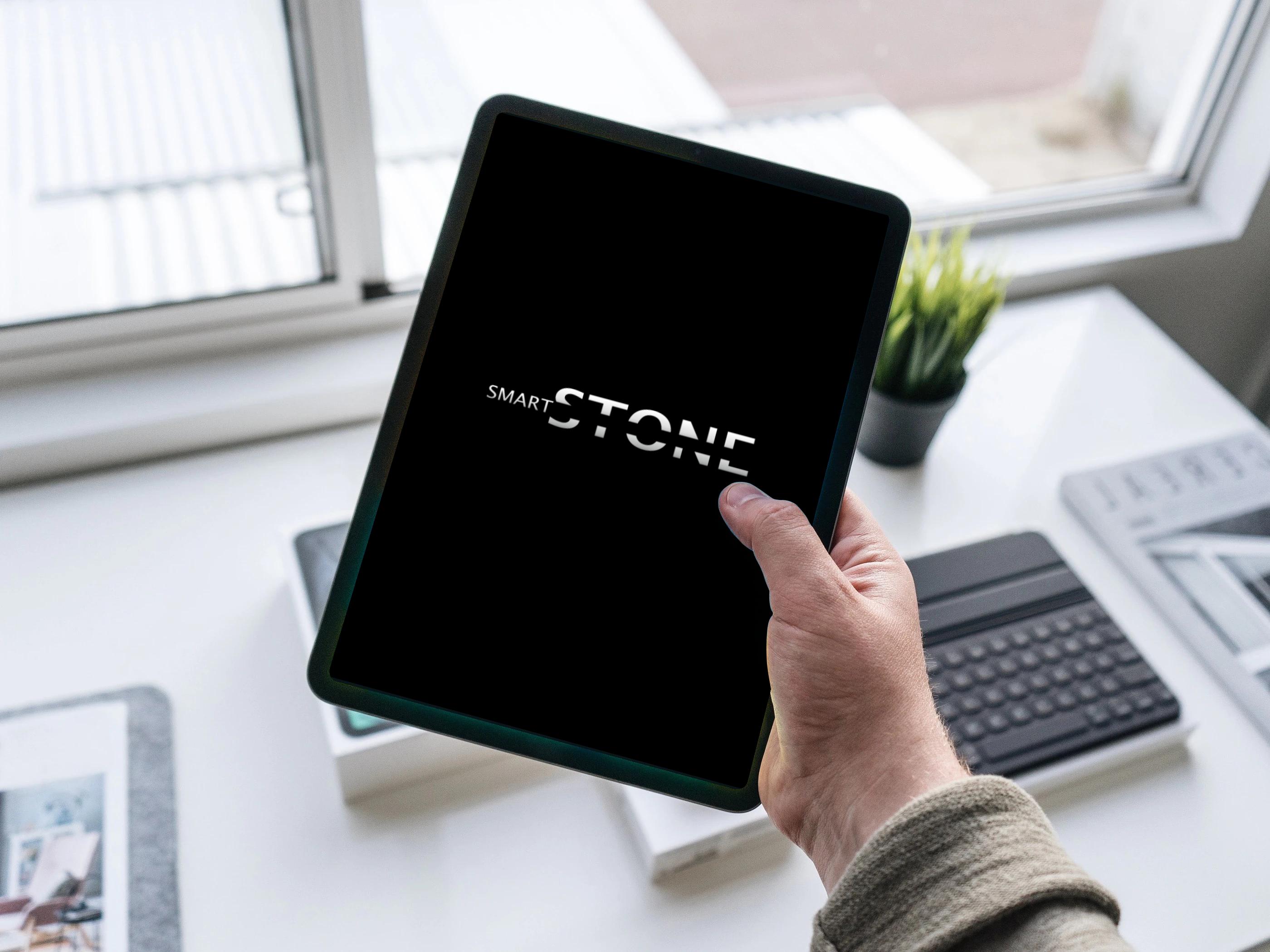 tablet in hand mockup smart